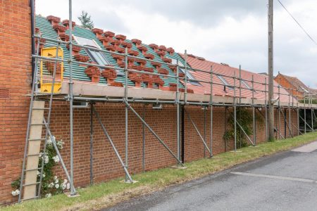 Scaffolding And Roof Repairs, Replacing Roof Tiles On A Rural Ho